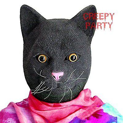 Masks CreepyParty Deluxe Novelty Halloween Costume Party Latex Animal Cat Head