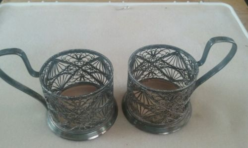 Russian silver plated tea glass holder (2)