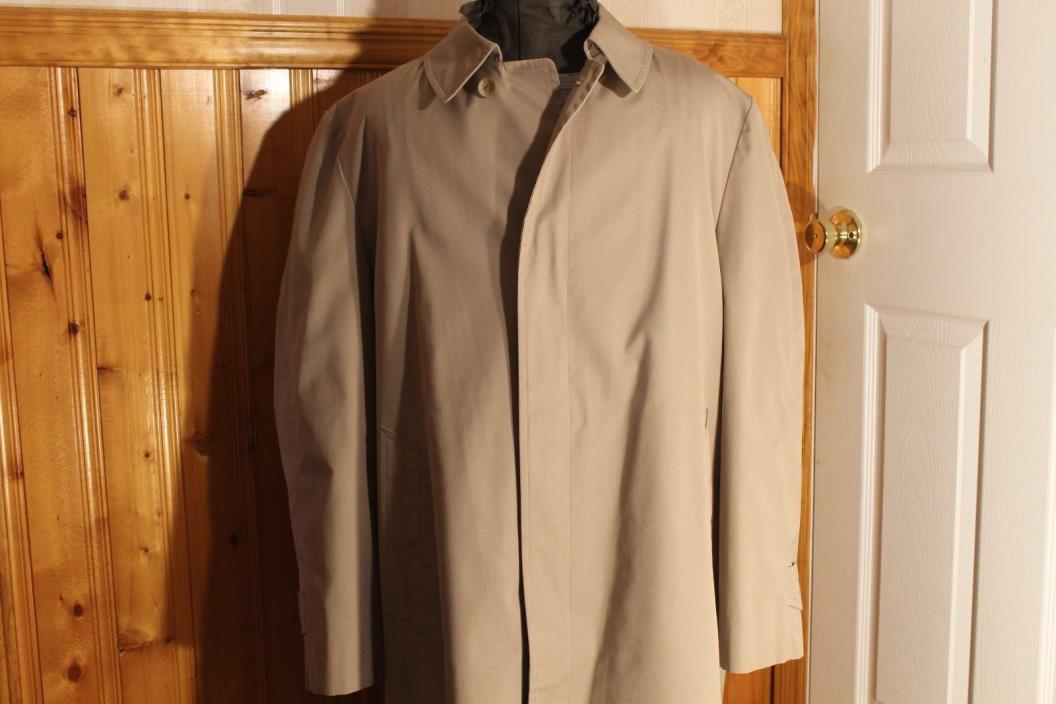 London Fog MainCoats Rain Coat Beige Men's Trench 4 button Size 44R.