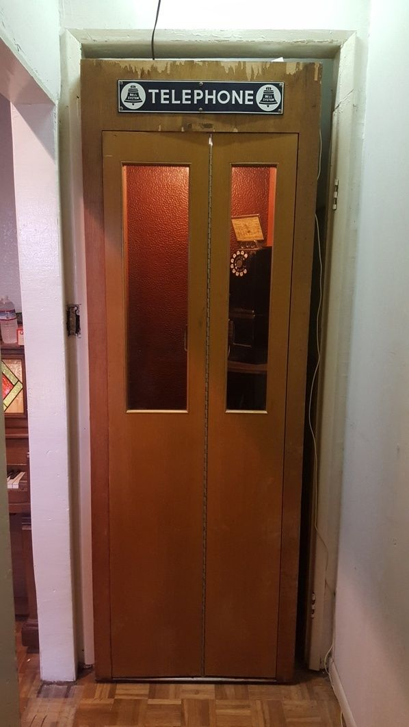 Vintage 1960s Bell Systems Western Electric Telephone Booth with Coin Phone