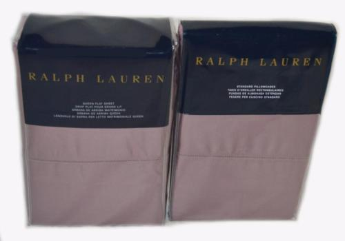 RALPH LAUREN RL624 Duchess Lavender QUEEN FLAT SHEET & PILLOWCASES WILTON ROSE