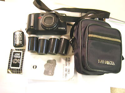 MINOLTA FREEDOM ZOOM 135 EX DATE + 5 ROLLS 35MM FILM & CLEANING KIT W/CASE