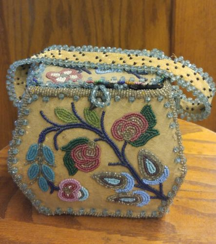 Antique Leather Beaded Bead Work Native American Box Purse as is