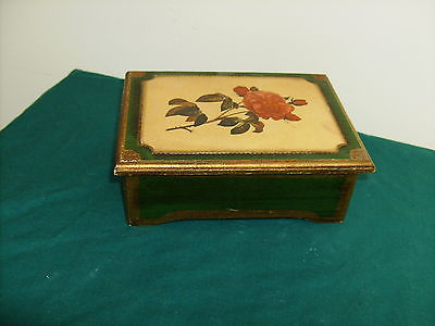 HOLLYWOOD REGENCY FLORENTINE ROSE GREEN GOLD MUSIC JEWELRY BOX