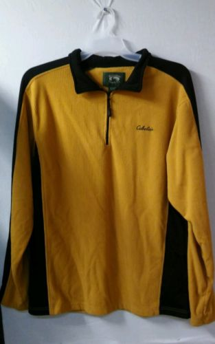 CABELA'S 1/4 ZIP FLEECE PULLOVER - MENS XL Gold & BLACK - TOP SWEATER EUC!