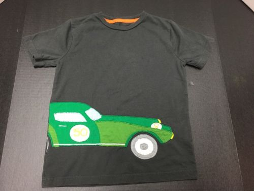 Mini Boden Boys Size 6-7y Gray Short Sleeve Race Car T-Shirt