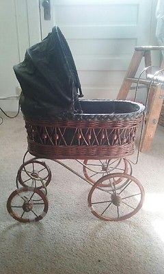 Antique BABY DOLL CARRIAGE CANOPY Buggy
