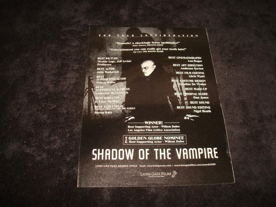 SHADOW OF THE VAMPIRE 2000 Oscar ad Willem Dafoe as Max Schreck, Count Orlok