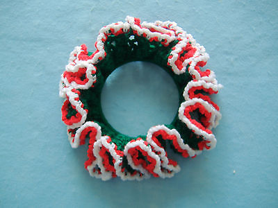 HAND CROCHETED CHRISTMAS HOLIDAY CANDLE RING WREATH CENTERPIECE