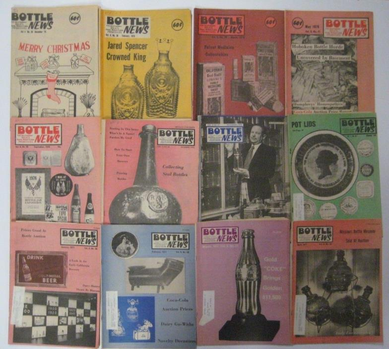 Vintage Lot of 12 BOTTLE NEWS Magazine 1975-77 Antique Collectors Back Issues