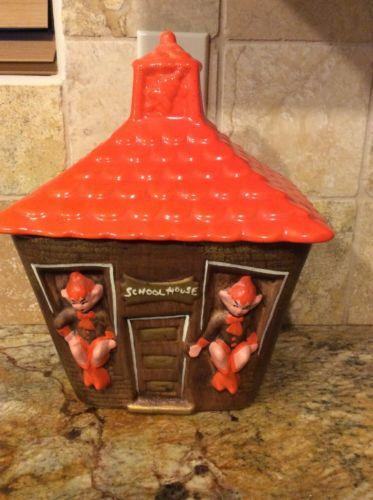 Vintage 1950s or 60s California Pottery Pixie Elf School House Cookie Jar