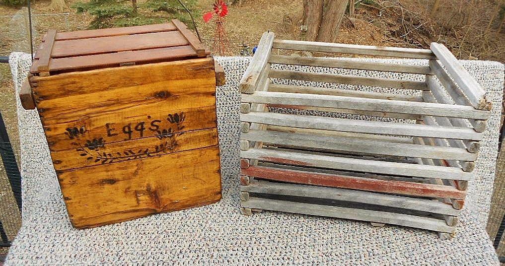 2 Lot Antique Primitive Americana Farm Folk Art Chicken Egg Crates Vntg Wood Box