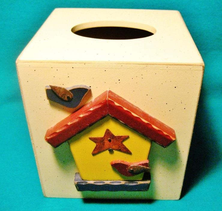 BIRD HOUSE TISSUE BOX HOLDER WOODEN Tender Heart Treasures Hand-Made 1997 STARS