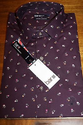 New Bar III Maroon Floral Mens Long Sleeve Slim Dress Shirt 15-15 1/2 32/33