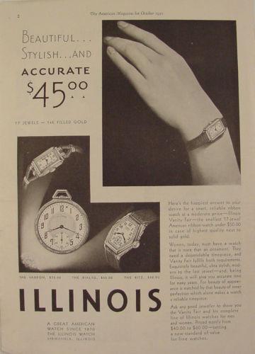 1930 ILLINOIS Watch Ad VARDON Rialto RITZ Vanity Fair with Prices