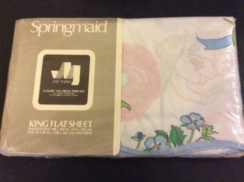 Springmaid Jay Yang NOS KING Flat Sheet Ribbon Bouquet Cotton Blend Percale
