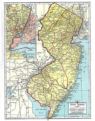 1938 Matthews Northrup ATLAS ORIGINAL MAPS New Jersey and New Mexico