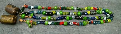 Vintage Tibetan Prayer Bells Peking Glass Beads Necklace