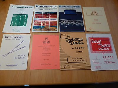 Mixed lot of 8 flute solo & duet books easy to advanced Belwin Master Ode to Joy