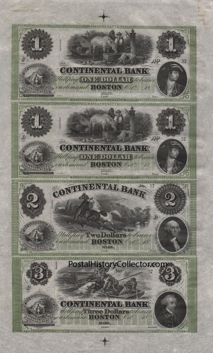 REPRINT Polar Bear Sheet $1 $1 $2 $3 Continental Bank Boston Felix OC Darley