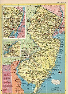 1953 NEW JERSEY and NEW MEXICO from Hammond Atlas 2 ORIGINAL maps A6