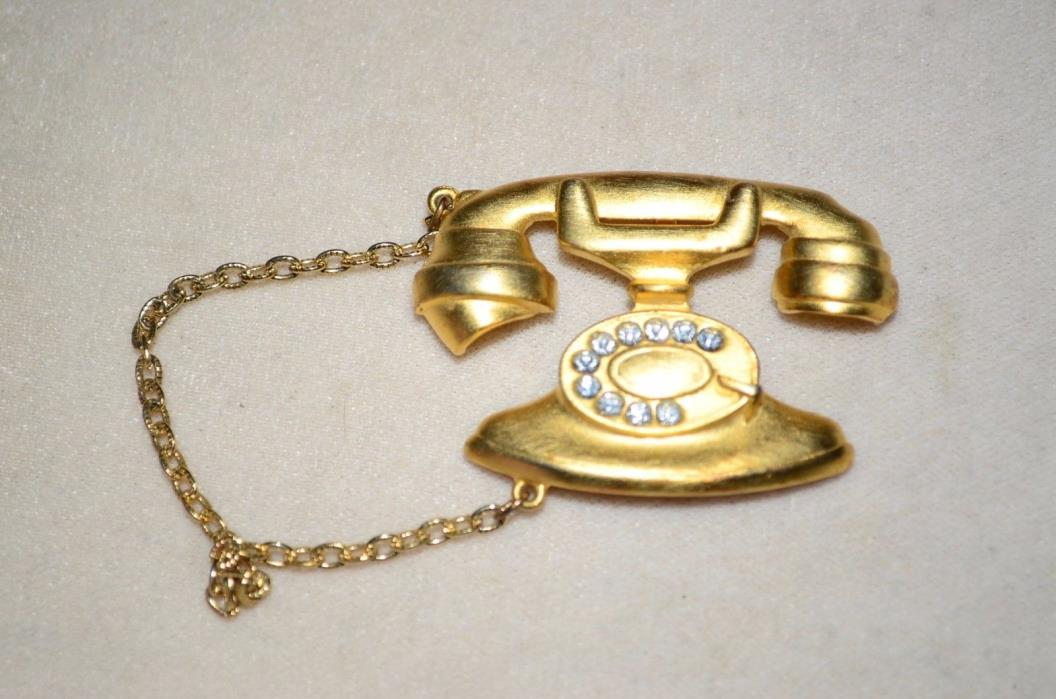 Artifacts Pin Brooches Phone Jonette Jewelry JJ Old Fashioned Rotary Dial Gold