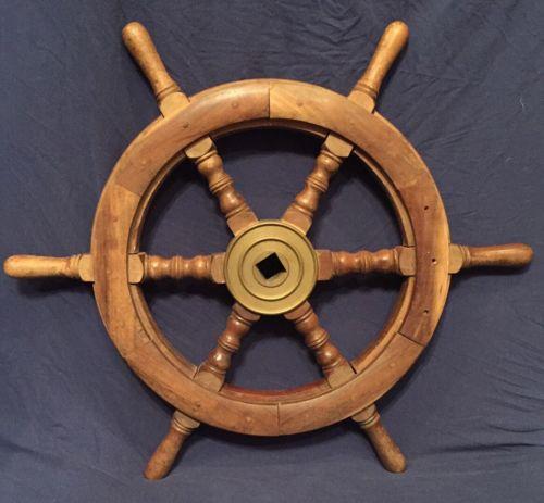 Vintage Wooden Sailboat Steering Wheel
