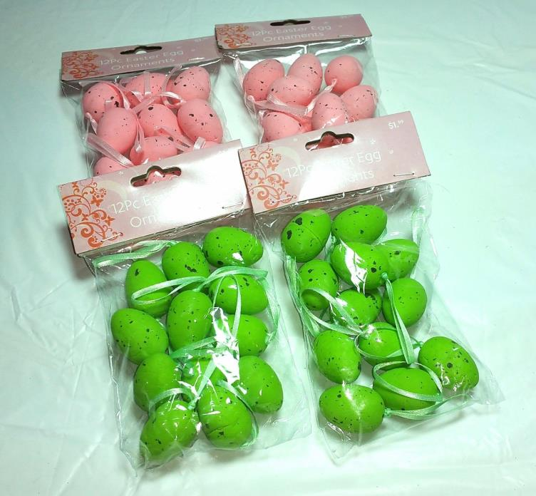 Lot of Easter Egg Ornaments Pink Green Speckled Total of 48 Crafts Gifts DIY