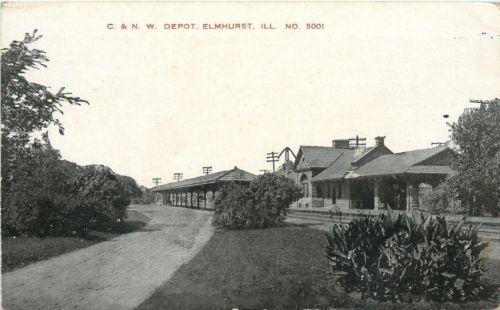 Elmhurst Illinois~Chicago & North Western Railroad Depot~1910 Postcard