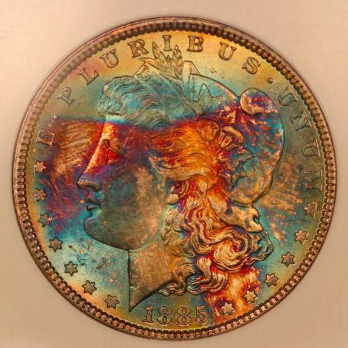 1885 Morgan Silver Dollar *NGC MS64* Vibrant Rainbow Toning