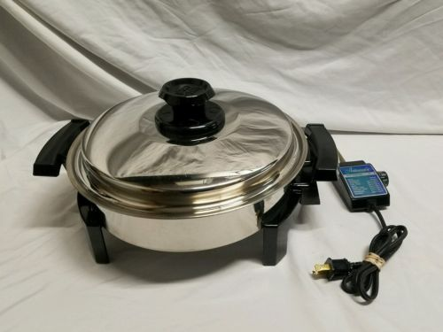 LUSTRE CRAFT WEST BEND STAINLESS STEEL LIQUID CORE ELECTRIC SKILLET W/VAPOR LID
