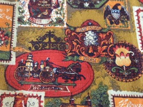 vintage Barkcloth House N Home fabric remnant   sixties? orange, gold, green