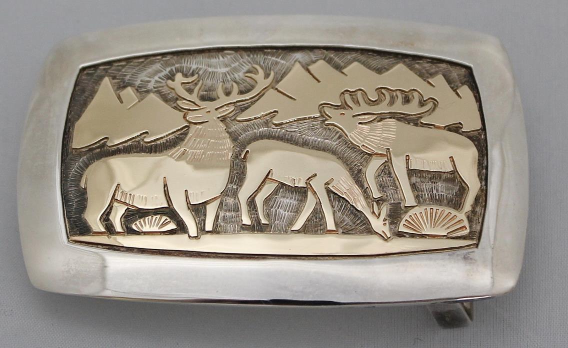 Watson Honanie *Solid 14K Gold Over Sterling Silver Wilderness Scene Belt Buckle