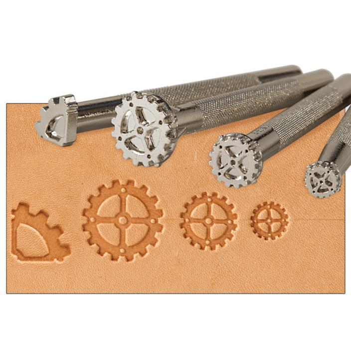 Steampunk Gear 4pc Leathercraft Stamp Tool Set -Tandy Leather Craftool 69035-00