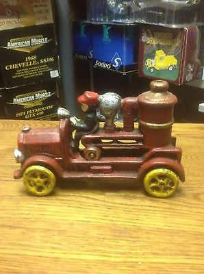 Antique Cast Iron Toy  Fire Truck