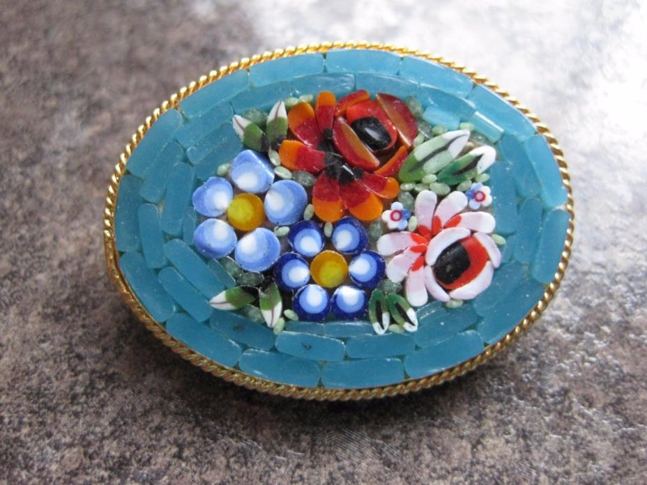 VINTAGE ITALIAN MOSAIC FLOWER BROOCH