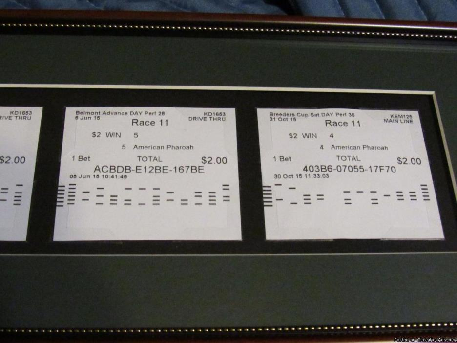American Pharoah-4 Framed Winning Tickets