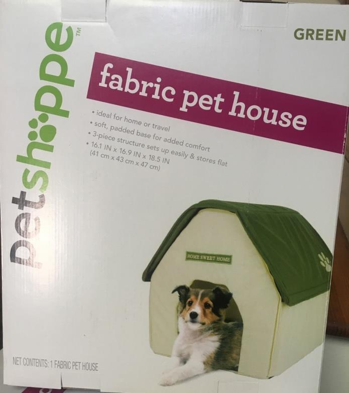 New In Box Dog Cat Puppy Kitten Fabric Pet House Shelter 16.1 X 16.9 X 18.5