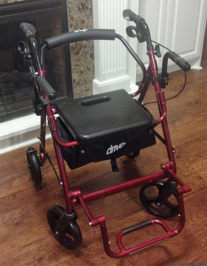 Drive rolling walker with seat