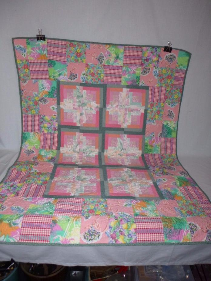 Quilted Throw Blanket Vintage Fabrics 45 x 59
