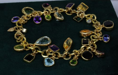 14k Solid Gold Natural Diamond  , Natural Multi Gem Bracelet