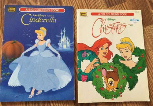 ~2 Vintage Disney Golden Books Coloring Princess Cinderella Color