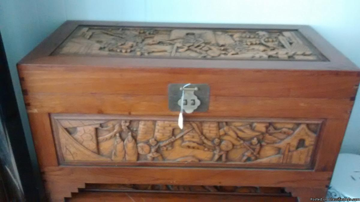 Oriental Hand-Carved Trunk