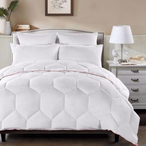 White Geometric Hexagon Down Alternative Comforter Queen Size with Orange Border
