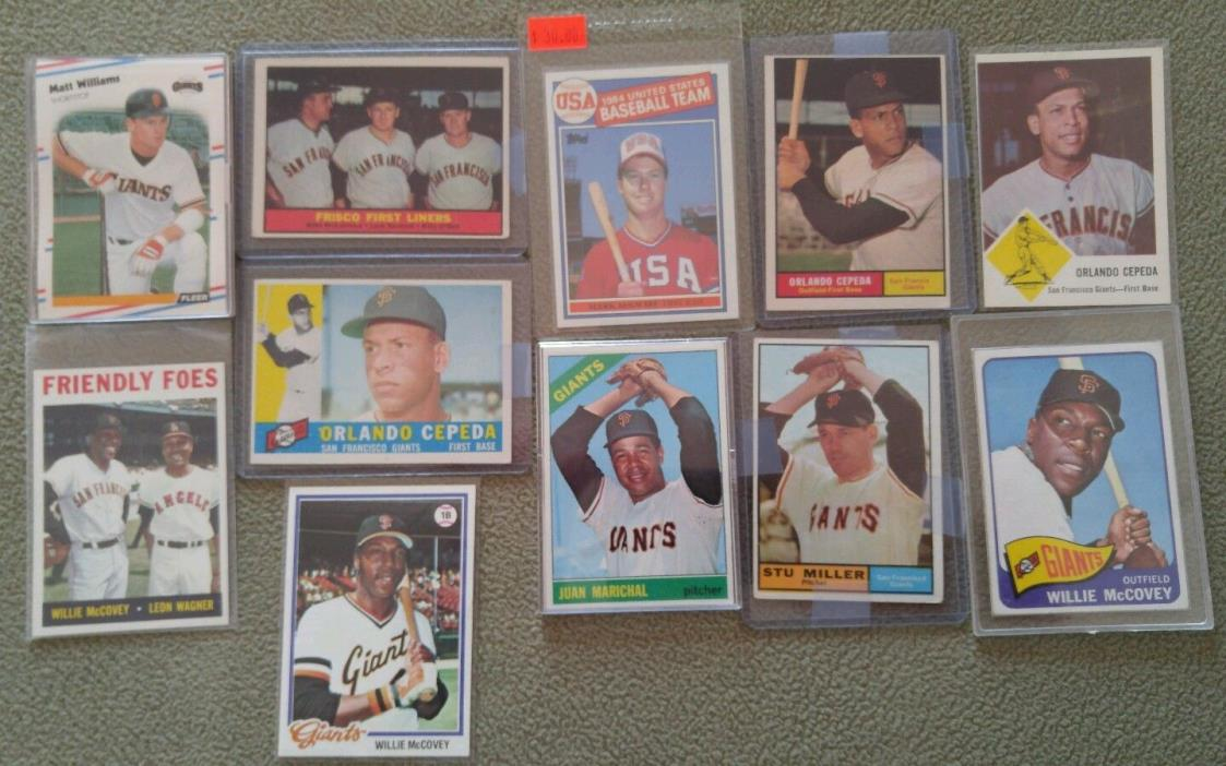 Lot of Giants 1960s 1970s 1980s McCovey Cepeda Topps Fleer MLB Baseball Cards