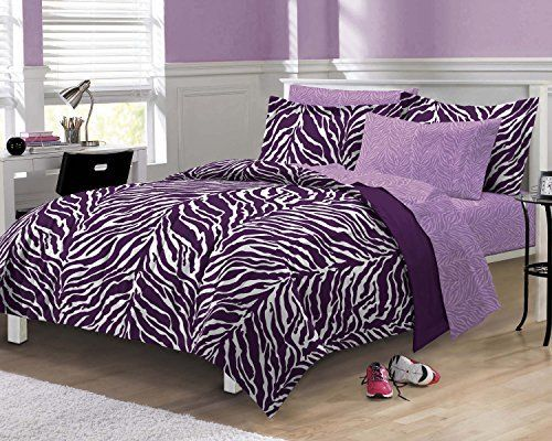 Zebra Purple Ultra Soft Microfiber Comforter Sheet Set, Multi-Colored, Queen