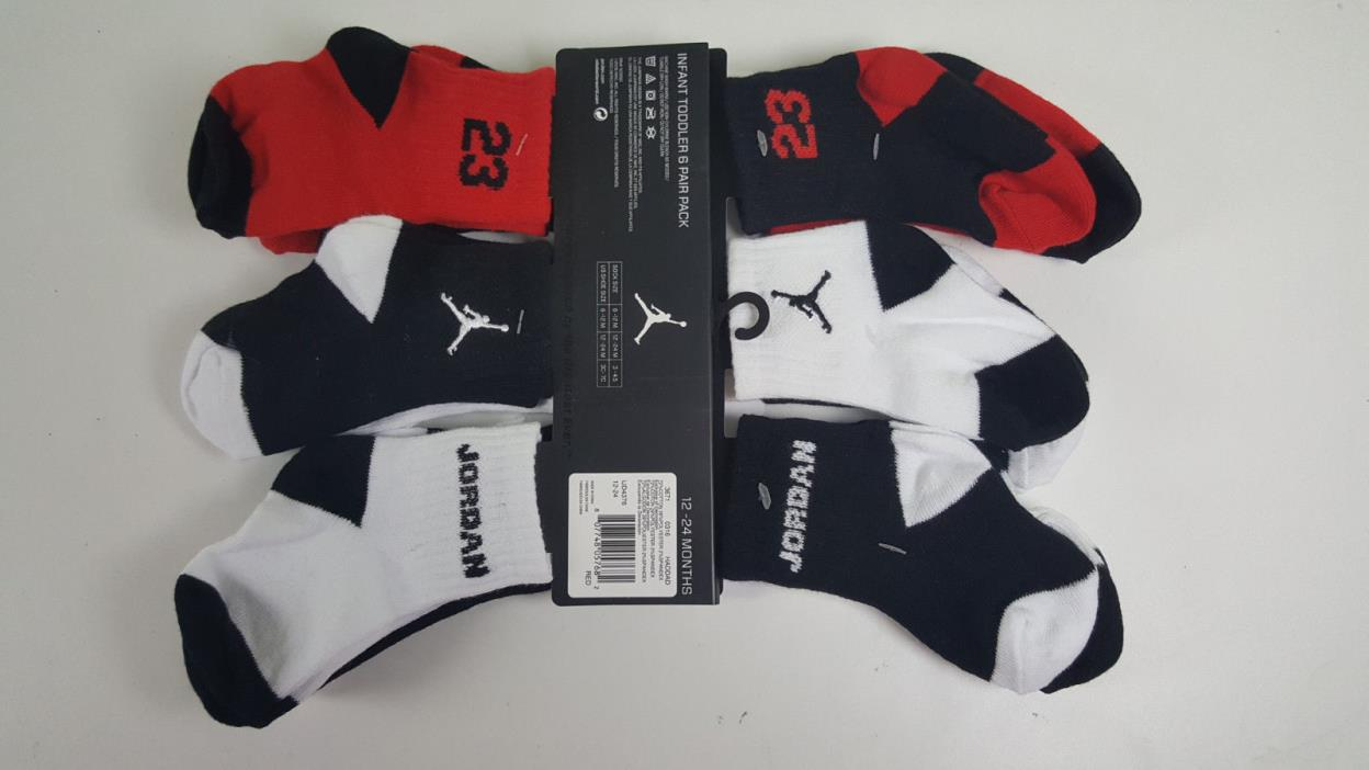NWT 6 X BRAND NEW NIKE JORDAN BABY TODDLER BOY RED BLK LOGO SOCKS SZ 12/24 MONTH