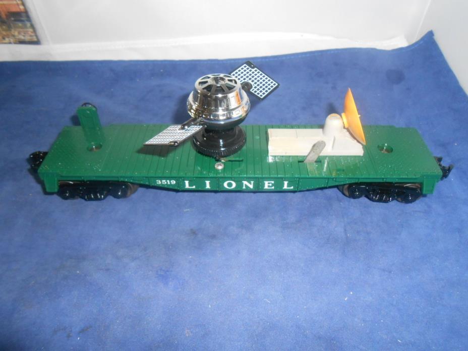 LIONEL POSTWAR 3519 SATELLITE LAUNCHING CAR wNEW SATELLITE & DISH. REMOTE LAUNCH