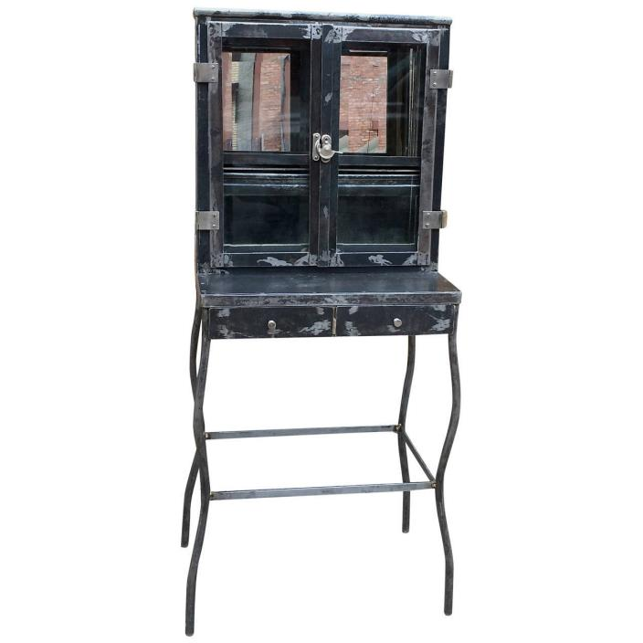 Industrial Brushed Steel Apothecary Dentist Cabinet