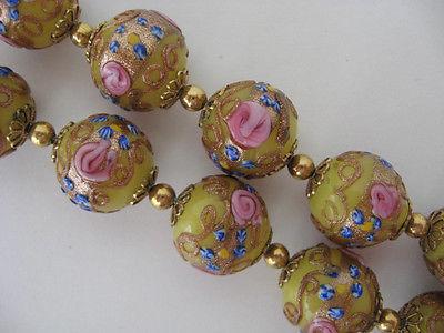 Vintage Venetian Glass Necklace Wedding Cake Yellow FIORATO Beads ROSES